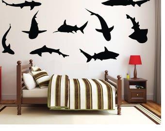 Shark silhouette 9 piece set, Shark decor, shark decal, shark decorations, shark wall decals, shark wall art, shark stickers, D00234.