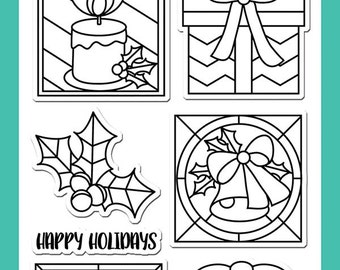 Avery Elle Holiday Glass Cling Stamp - Holiday Stamp - Clear Cling Stamp - Clear Glass Stamp Set - Holiday Glass Stamp Set - 3-013