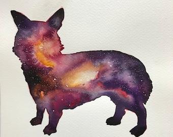 Corgi Nebula Original Watercolor
