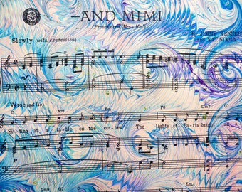 Mimi - handmade marbled sheet music