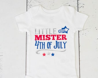 LITTLE MISTER 4th Of July Bodysuit,Fourth Of July Boys Shirt,Patriotic Shirt,Independence Day Boys Top,Boy Fireworks Shirt,Stars Bodysuit
