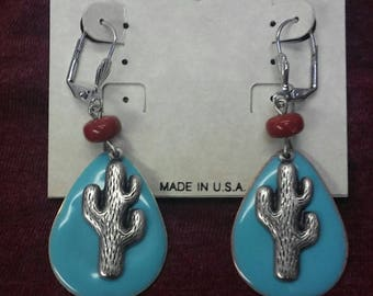 On Sale! Free Shipping*! Cactus Earrings, Cactus Jewelry, Western Earring, Dangle Earring, Boho Chic, Silver, Turquoise, Carnelian, #80343-1