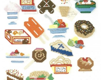 16 Birthday Cake /Sweets / Ice Cream Magnets / Gift Tags  / Vintage 7 ct Plastic Canvas Pattern / Digital Download