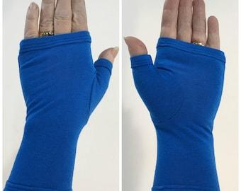 Blue bamboo wrist warmers, fingerless gloves.
