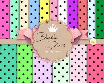 Black Polka Dot Digital Paper — Digital Scrapbook Paper — Polka Dot Digital Paper — Polka Dots Rainbow Background — rainbow digital paper