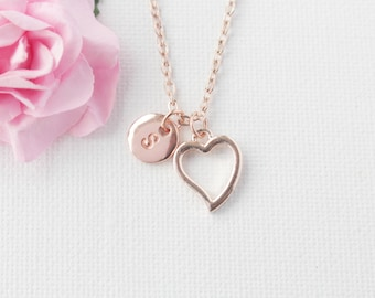 rose gold Heart Necklace, rose gold heart, rose gold  Heart Pendant, Love Jewelry, Wedding Jewelry, Anniversary Gift, Bridal Party Gift