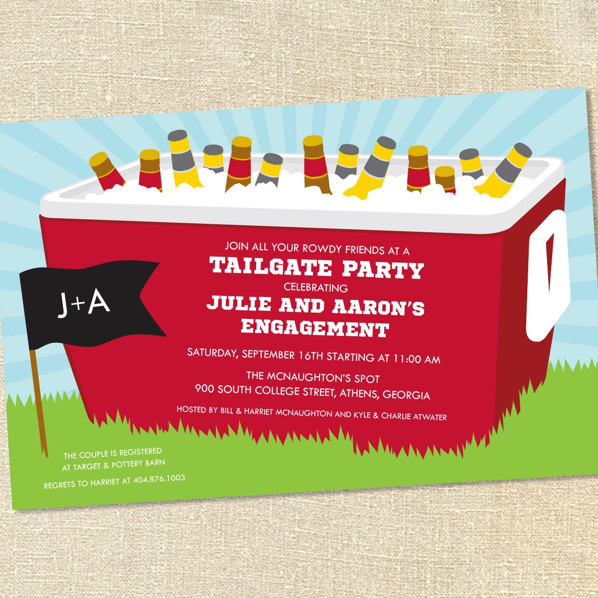 Sweet Wishes Tailgating Cooler Football Party Invitations