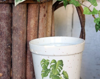 Monstera leaf planter, inch flower pot, monstera plant care instructions, Swiss cheese plant, flower pot, planter, garden, plant container