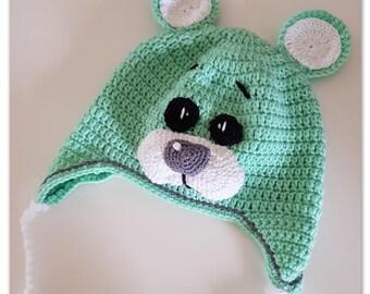 Crocheted Teddy Bear Beanie pdf pattern