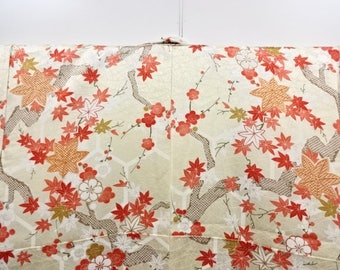 Japanese vintage unused komon kimono maple and ume blossom
