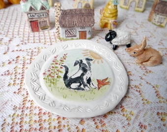 Border Collie Painted Plate, Hand Painted Porcelain, Small Dog Painting