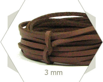 5 m cord 3 mm Brown CP19 leatherette