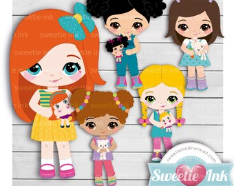 Clipart Girls and Toys kawaii