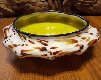 Giraffe Colors!! Hand Blown Glass Fruit Bowl!!