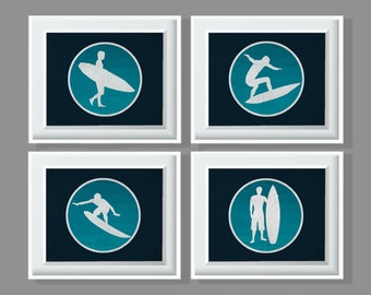 Set or 4 Surfer Art Prints Navy, White and Turquoise 8x10, 11x14, 13x19