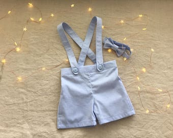 Baby boy blue suspender shorts and bow tie ring bearer outfit