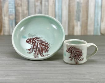 Kid dish set. Children's cup + bowl. Toddler, preschool gift. Light green glaze. Porcupine gift set. First birthday gift. Montessori dishes