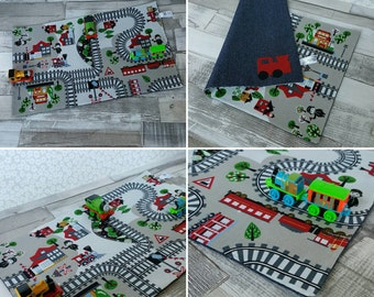 Large train track play mat, fold away playmat, toy play mat, travel kids holiday toy, fold up playmat game, imaginative play, on the go CE