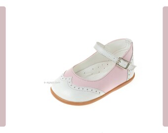 Wingtips shoes Leather baby girl shoes Pink White  Kids shoes First steps shoes Baby shoes baby baptism shoes size 3 4 5 6 US EU