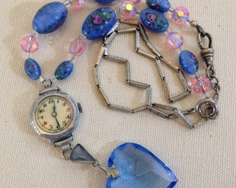 Crystal Heart Watch Necklace Millefiori Bead Antique Assemblage
