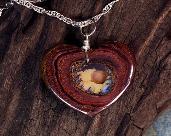 Yowah Boulder Opal Heart Pendant on Sterling Silver Chain Necklace