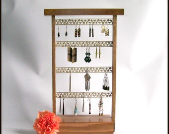 Earring Holder Stand - Earring Hanger - Earring Display - Wood - Stained