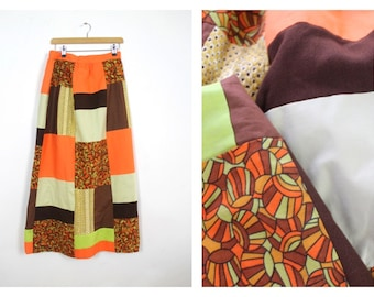 60's Bright patchwork maxi Skirt