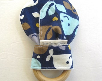 Wood TEETHER- Organic Baby Teether- Wood Baby Teether- Wood Ring- Teething Toy- Blue Whale Fabric- Nautical Baby Shower Gift- Baby Boy Gift