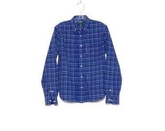RALPH LAUREN BLOUSE // beautiful high quality cotton flannel plaid blouse, ralph lauren shirt, womens clothing, dress shirt // size medium
