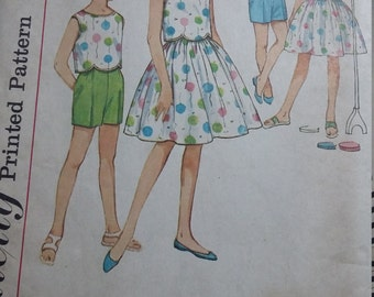 UNCUT and FF Pattern Pieces Vintage Simplicity 4411 Sewing Pattern Size 10 Girls Skirt, Shorts and Overblouse