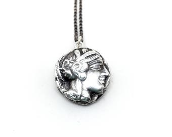 Athena   Minerva 449 bc silver coin necklace