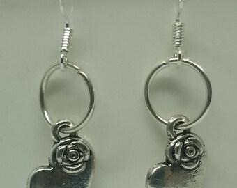 Tibetan Silver Heart Earrings with 925 Sterling Silver Wire Hooks