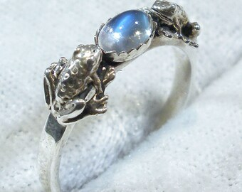Rainbow Moonstone Frog Ring, Recycled Sterling Silver, June Birthstone, blue flash adularia, natural Cancer Libra Scorpio, 2 frogs jewelry