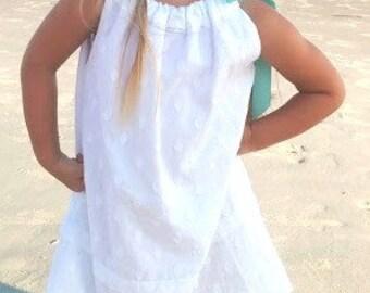 Dress, Little Girl Dress, Pillowcase Dress, White Dress, Beach Dress, Easter Dress, Summer Dress