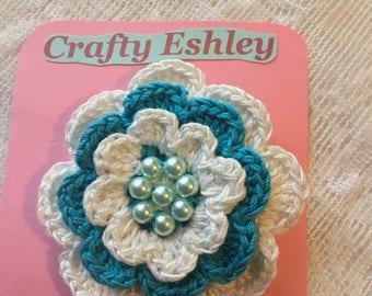 Blue flower hair clip,