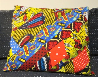 Cushion cover patchwork of super powers small dots african wax print vintage patterns popular design up cycling creation