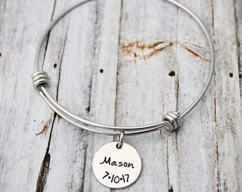 Personalized Bangle Bracelet - Name and Date - Mommy Jewelry - Mothers Bracelet - Child's Name - Mom Gift - Multiple Kids - Stamped Jewelry