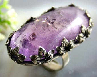 Amethyst Ring / Amethyst Statement Ring / Purple Amethyst Ring / Amethyst Sterling Ring /Sterling Silver Jewelry