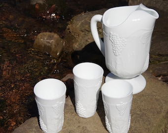 Milk Glass Harvest Grape Pitcher and Tumblers