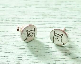 Earrings Silver Llama Earrings - Sterling Silver Llama Earrings - Alpaca earrings llama jewelry post earrings