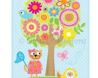Kids Wall Art-Spring time friends- Nursery decor