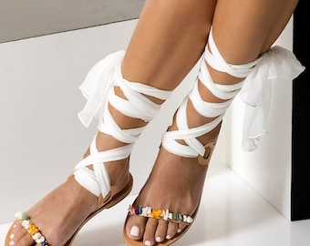 """Women Flat Sandals, Luxurious Bridal flats, Beaded sandals with interchangeable laces """"Charis"""""""