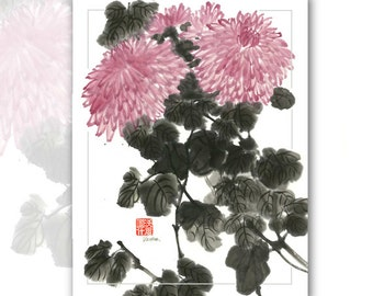 "Watercolor Chinese Brush Painting Cards  ""Chrysanthemums"""
