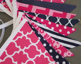 Navy & Bright Fuchsia Pink Fabric Bunting Pennant Banner Girl's Room, Nursery, Baby Shower, First Birthday Party Decoration or Photo Prop