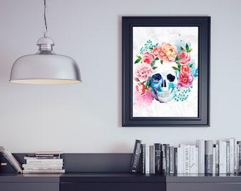 Skull with Flowers Watercolour Dia de los Muertos Wall Art Print