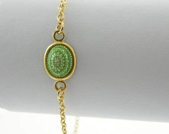 Mandala Bracelet in Green & White