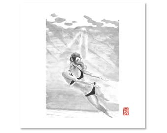 Woman / Swimming / Water / Black and White / Fine Art Print / Giclee / Japanese Ink  / Yokai Illustration