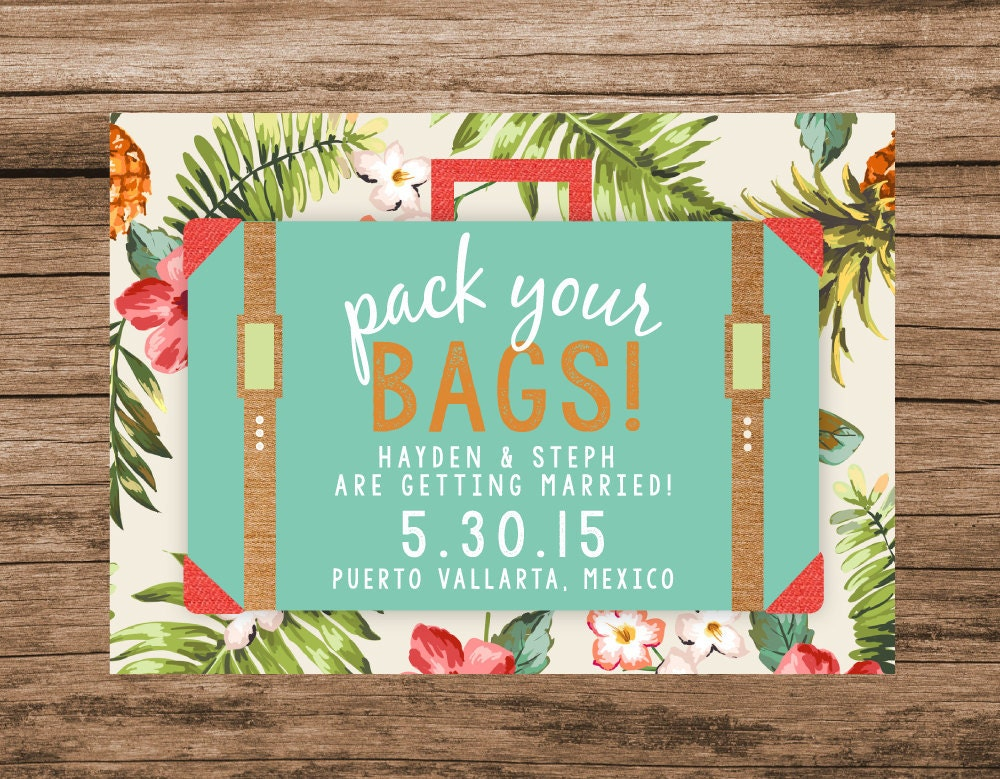 Reception Invitation Wording After Destination Wedding: Destination Save The Date Tropical Save The Date Pack Your