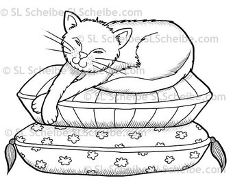 Digistamp Lazy House Cat Digital Stamp Sleeping Kitty Instant Download
