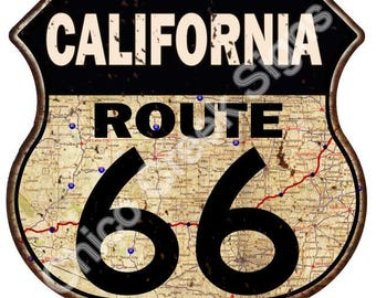 California Route 66 Road Map Shield Sign Vintage Look Decor Metal Sign S120245